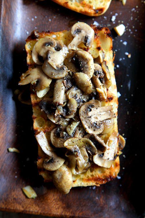 Simple Garlic Mushroom Bruschetta.