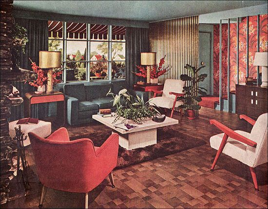 1948 Retro Living Room    This Armstrong interior appeared in Ladies Home Journal. A similar color scheme, but in a traditional style, appeared at about the same time.