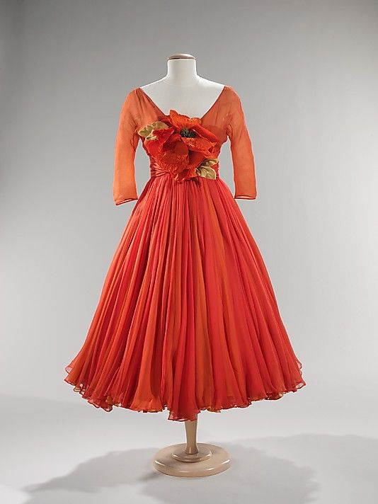 A vibrant, beautiful Scaasi Cocktail Dress, ca.1958. #vintage #fashion #1950s #dress