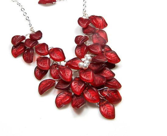 Red Bib Necklace, Beaded Necklace, Nature Jewelry, Bridal Jewelry with Czech Glass and Swarovski Pearls