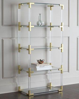 Lucite & Gold Shelving Unit