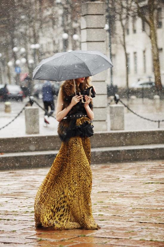 Milan Fashion Week © Coke Bartrina. Rainy day looks good!