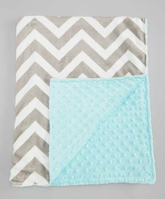 Lolly Gags Tiffany Blue & Silver Zigzag Minky Stroller Blanket