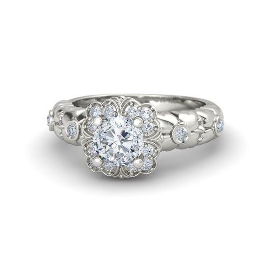 Round Diamond Platinum Ring with Diamond - Garden Treasure Ring