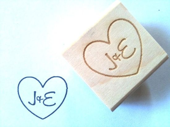 Custom Stamp Heart with Initials DIY Wedding by AproposRoasters, $15.00