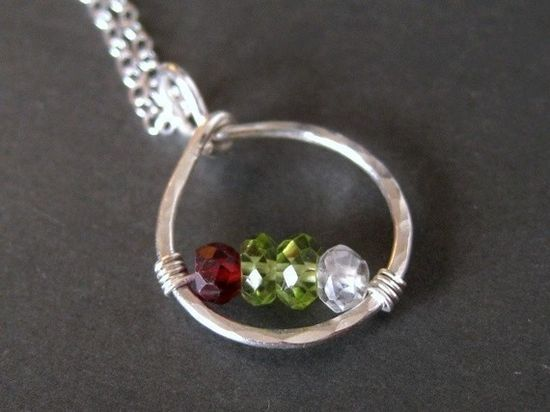 custom mothers family birthstone necklace made with genuine birthstones by Mu-Yin Jewelry (muyinmolly on Etsy)