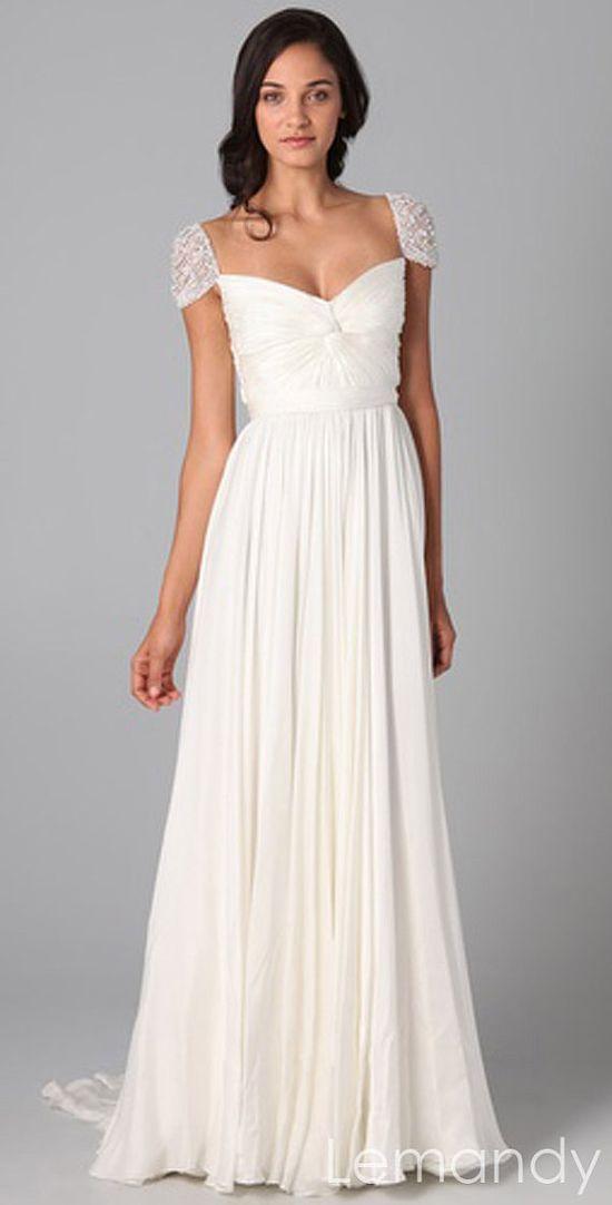 ivory silk chiffon cap sleeves column wedding dress with long chiffon belt. $238.00, via Etsy.