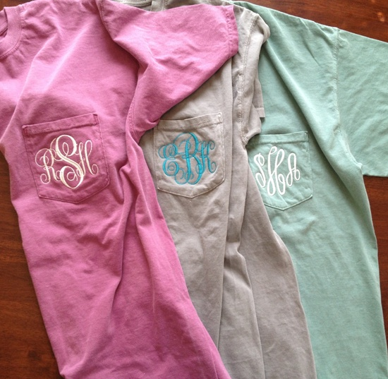 Monogrammed Comfort Colors Pocket Tee. $18.00, via Etsy.