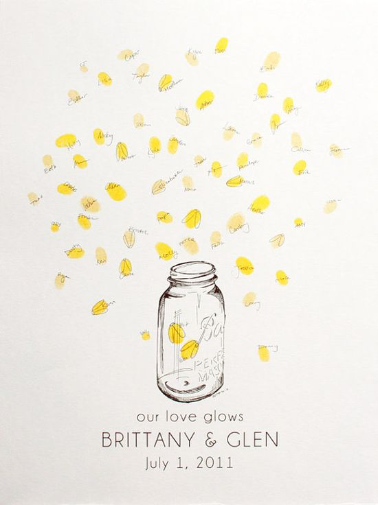 Large mason jar with fireflies Guest book fingerprint by bleudetoi, $77.00
