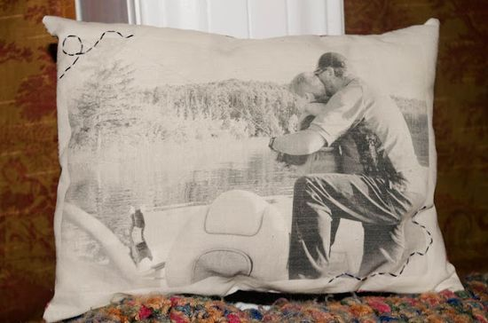 Print photo on wax paper and then iron on fabric.