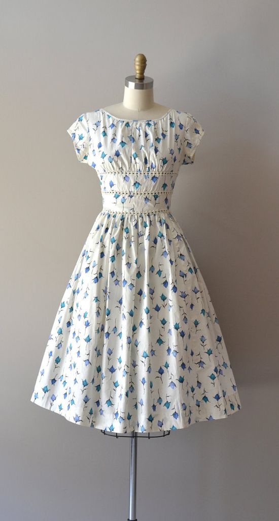 vintage 50s dress / cotton 1950s dress / Among the by DearGolden, $115.00
