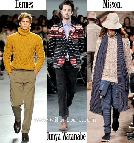 Chunky knitted jumpers and sweaters in bold prints and colours.