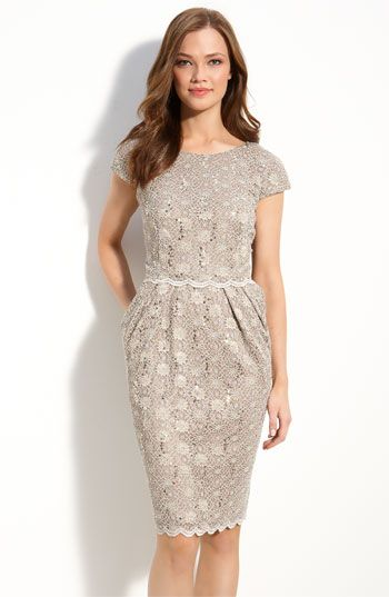 MobAlex Evenings Sequin Lace Overlay Sheath Dress available at #Nordstrom