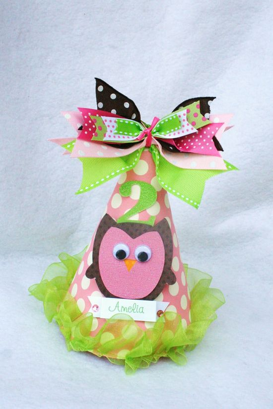Hoot Owl birthday party hat in pink lime and by LittlePinkTractor, $15.50