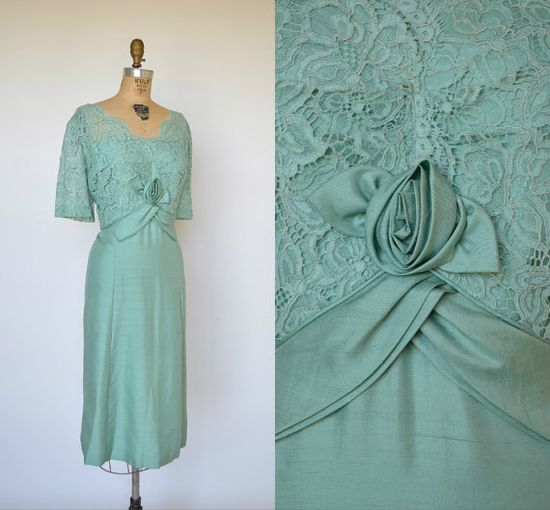 Gorgeous 1950s dusty turquoise hued lace dress from Dalena Vintage on etsy. #vintage #1950s #fashion #dresses