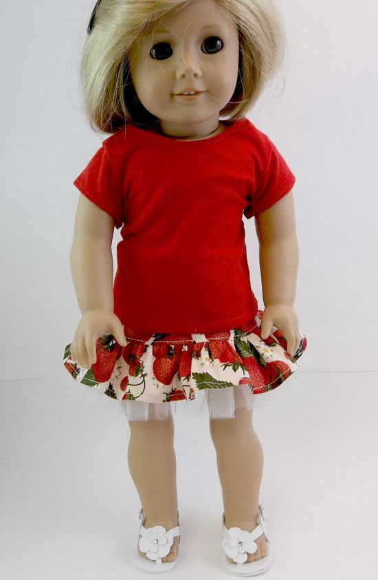 18 inch Doll Clothes American Girl  Ruffled Strawberry Print Skirt with White Tulle & Red  T shirt Toys