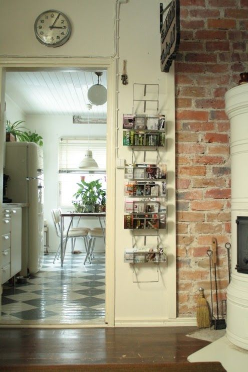 vintage style kitchen with exposed brick wall