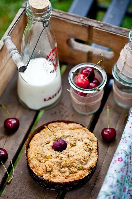 Cherry Pistachio Crumble Cake by tartelette