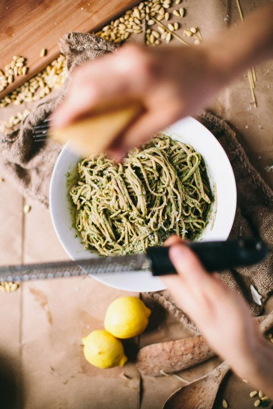 Chard Pesto Linguine