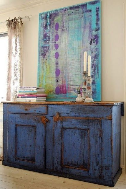 I want the cabinet and I want to do a painting like that :) perfect for a dining room.