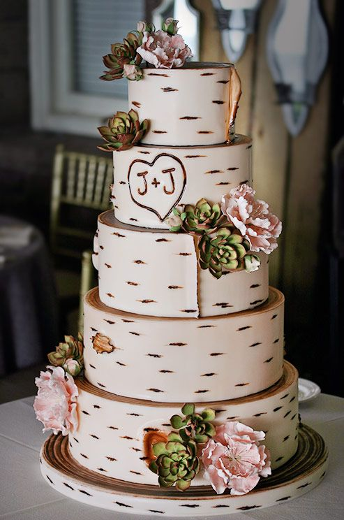 Succulents wood wedding cake by Confectionery Designs