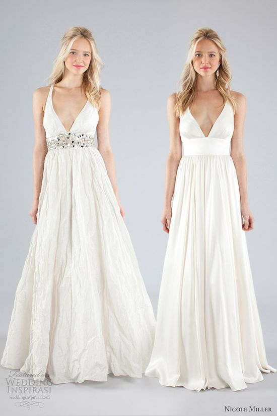 nicole miller bridal fall 2013 wedding dress straps plunging v neckline