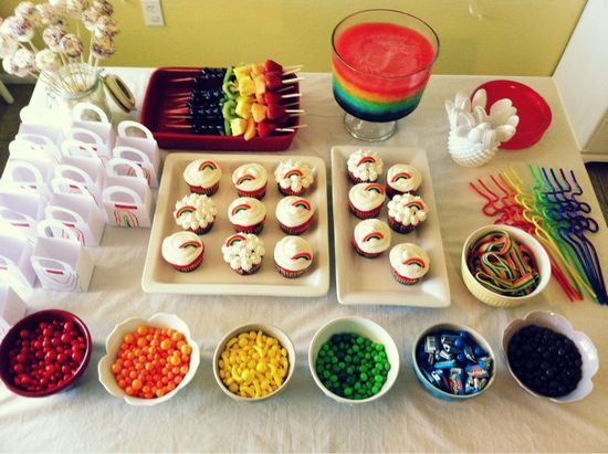 little girl rainbow birthday party that my friend did.  so cute!