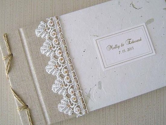 Rustic Wedding Guest Book Natural LInen Wildflower by Daisyblu, $56.00