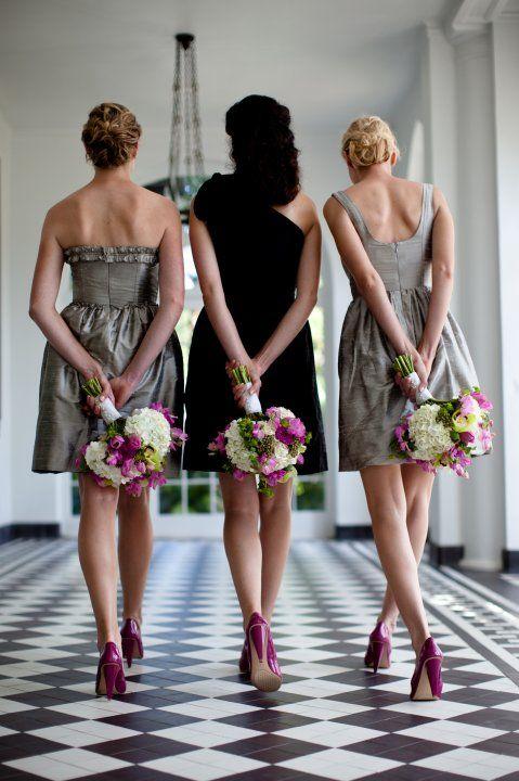 love the grey dresses.