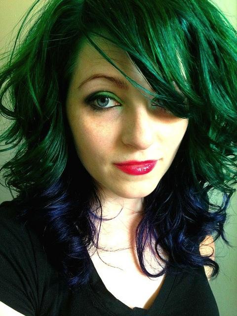hair, hair color, multi-colored hair, green hair, blue hair, green, blue, tips