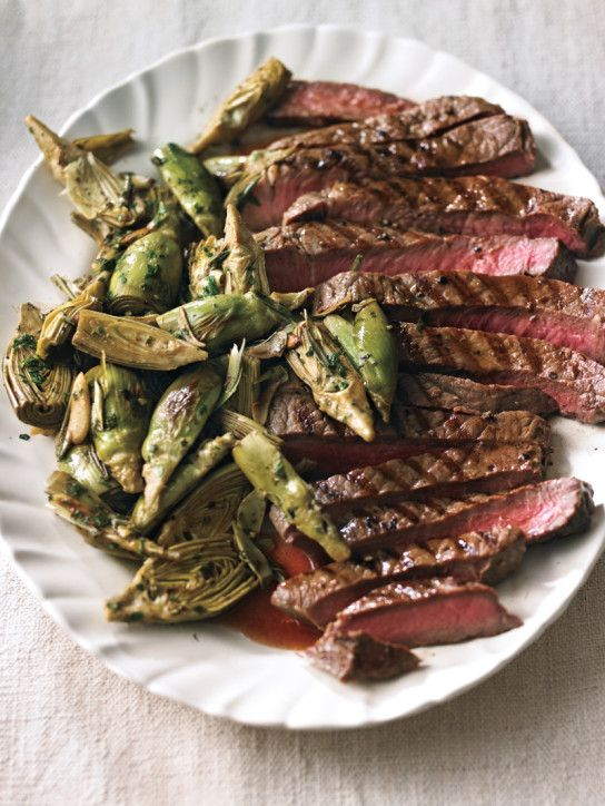 Sliced Steak with Garlic-Sauteed Artichokes