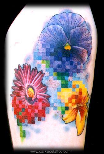 Nick Baxter - Monicas #pixel flowers  #8bit #tattoo