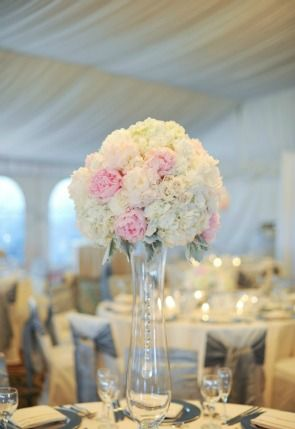 pink peonies white hydrangea dusty miller tall centerpiece