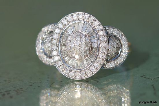 Vintage 14k White Gold & Genuine Diamond Cocktail Ring