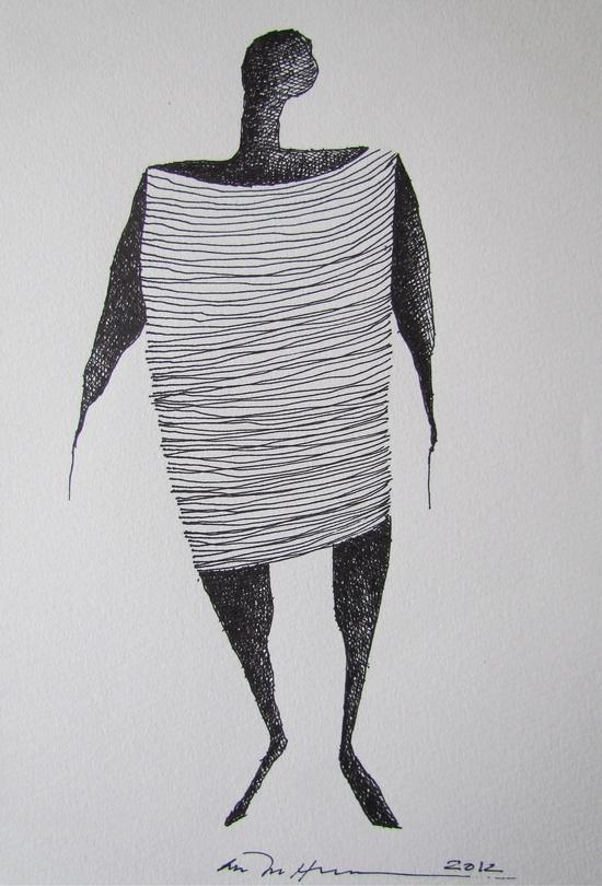 Åse Margrethe Hansen; ink drawing, 2012