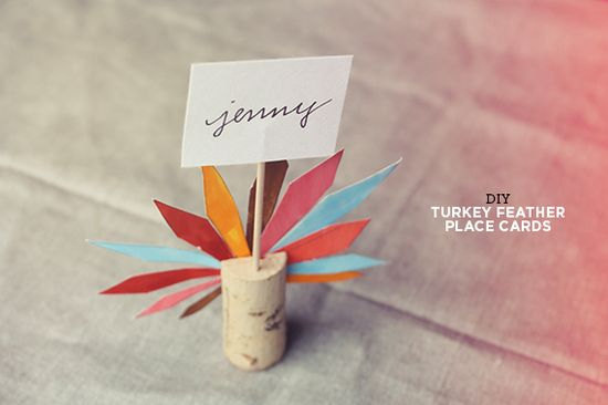 do it yourself turkey feather place cards