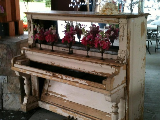 Vintage Piano bar very old chippy creamy by TerriBrushDesigns, $595.00