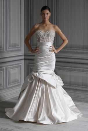 Monique Lhuillier 2012 - Eternity -   Pearl embellished tulle corset. Pearl princepessa satin hand bustled trumpet skirt.