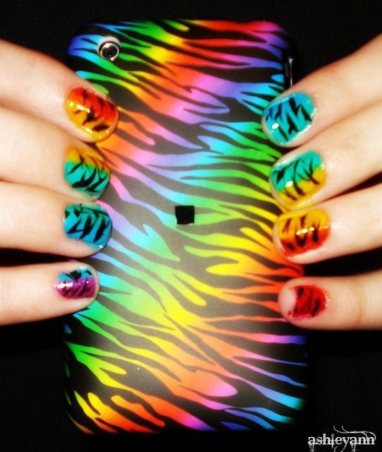Rainbow and Zebra nails