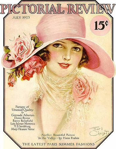 The gorgeous July 1925 cover of Pictorial Review magazine. #pink #roses #vintage #1920s