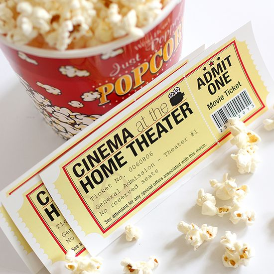 Family Movie Night Tickets - FREE Printable - Dabbles & Babbles