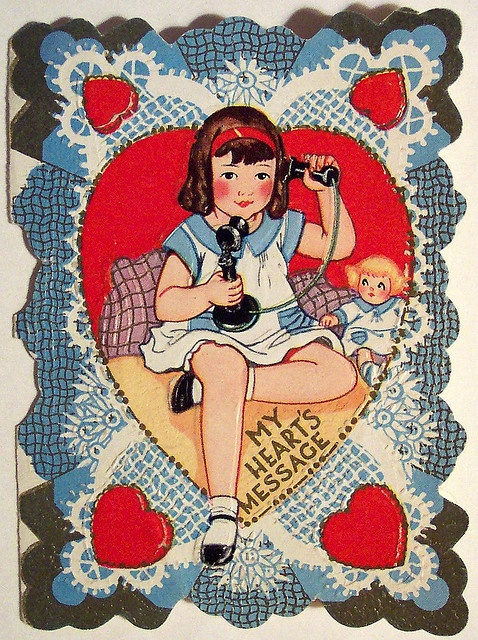 "Sweet Vintage Valentine's Day Card ""My Heart's Message"""