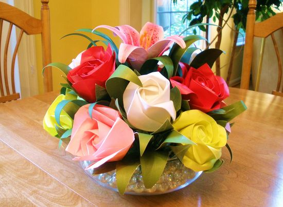 origami Rose Flower Arrangement