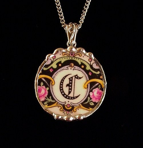 Broken China Jewelry circle pendant antique china C initial monogrammed roses Made from a broken plate