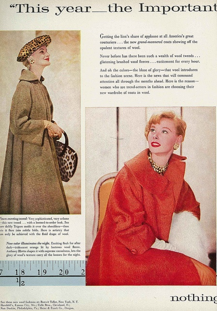 I adore the leopard hat and bag in the photo on the left. #vintage #fashion #1950s #coat #hat #accessories