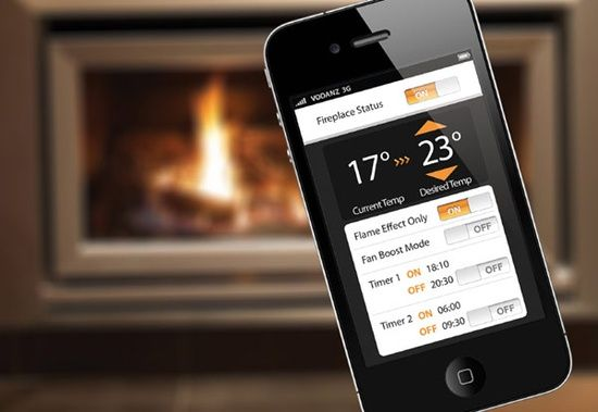 Fireplace Controllable by iPhone or Android Smart