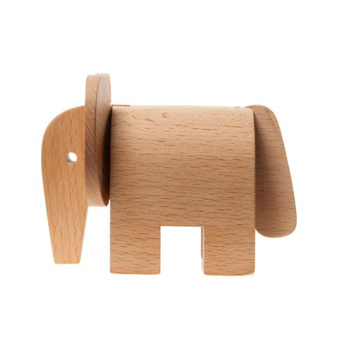 AREAWARE Dovetail Elephant    Designer: Karl Zahn    Material: Solid Beech wood with natural tung oil    Dimensions: 4.5 x 2.5 x 3.25 inches      Three beautifully polished wooden shapes, whose dovetail joints converge to form an animal. $19