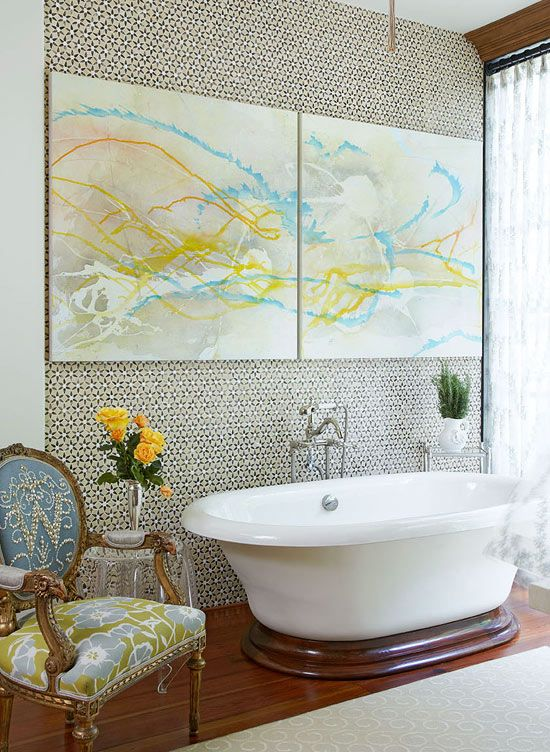 Master Bath A dramatic wall of small-scale patterned tiles becomes a  work of art all its own.