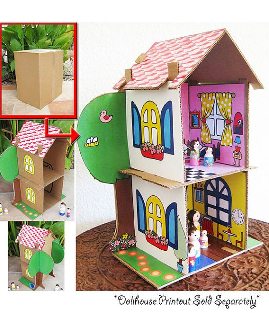 Recycle Cardboard Boxes DIY Toy house Paper Craft (.pdf printable)