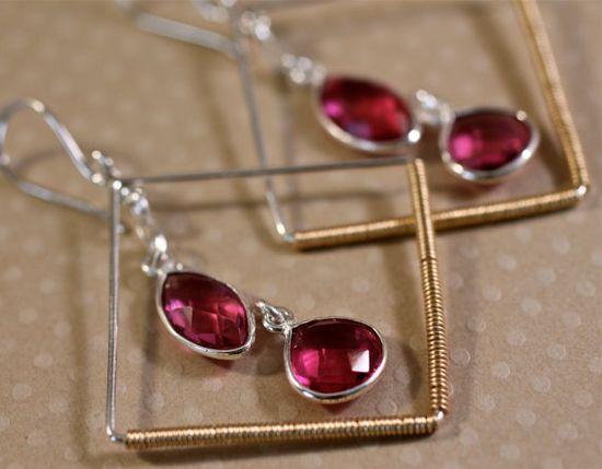 Pink Gemstone Earring Silver Geometric Large Dangle by amyfine